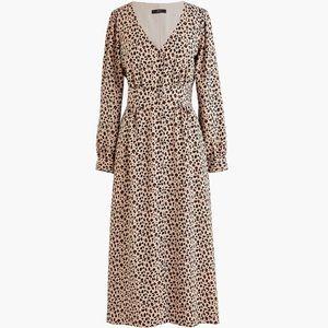 Jcrew Leopard Print Midi Dress